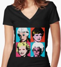 Golden Warhol Girls Women's Fitted V-Neck T-Shirt