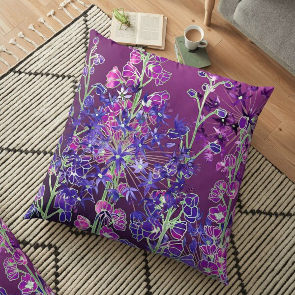 Delphiniums & Alliums - Purple Flowers Floor Pillow