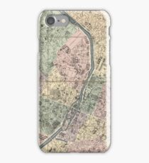 Vinage Map of Paris France (1878) iPhone Case/Skin