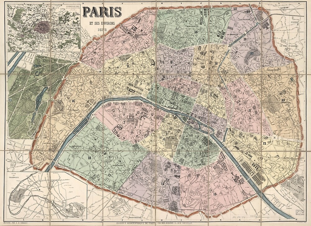 Vinage Map of Paris France (1878) by BravuraMedia