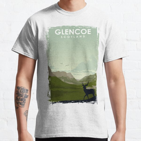 Glencoe Scotland vintage travel poster art Classic T-Shirt