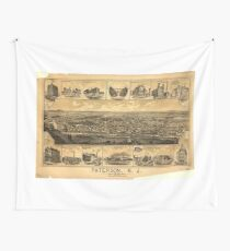 Vintage Pictorial Map of Paterson NJ (1880) Wall Tapestry
