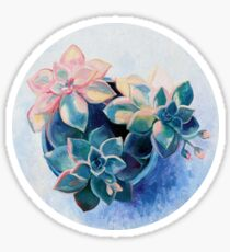 Pastel Succulents - an oil painting on canvas Sticker