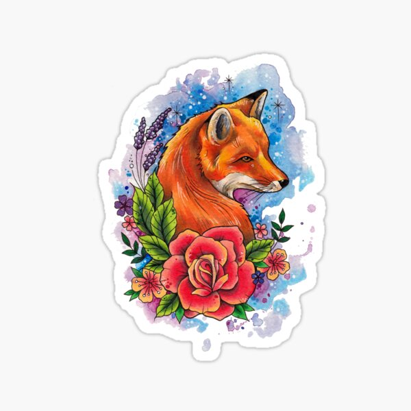 Fox and floral watercolor design Sticker