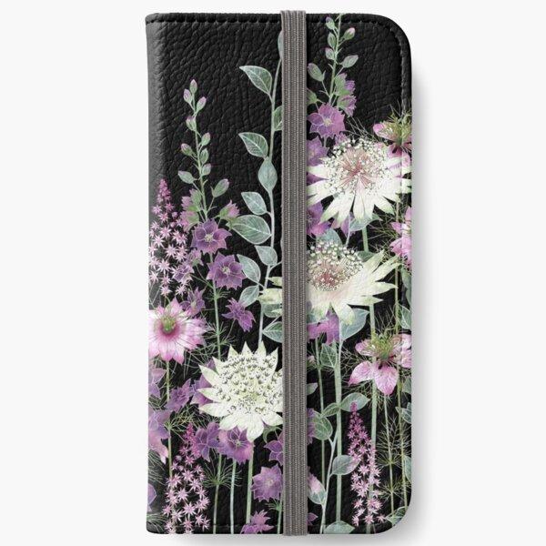 Flower Garden at Night - Astrantia, Persian Jewels, Larkspur, Tiarella iPhone Wallet