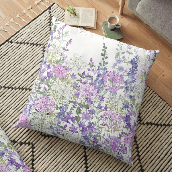 Flower Garden - Allium Eros, Larkspur, Ammi, Cluster Lilies, Catmint Floor Pillow