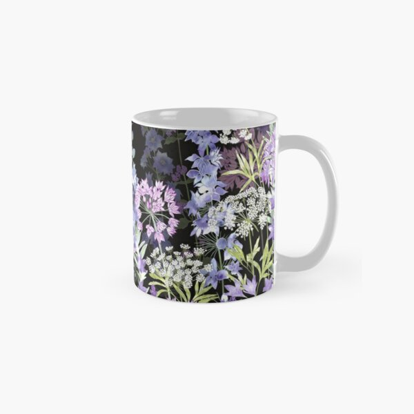 Flower Garden at Midnight - Allium Eros, Larkspur, Ammi, Cluster Lilies, Catmint Classic Mug