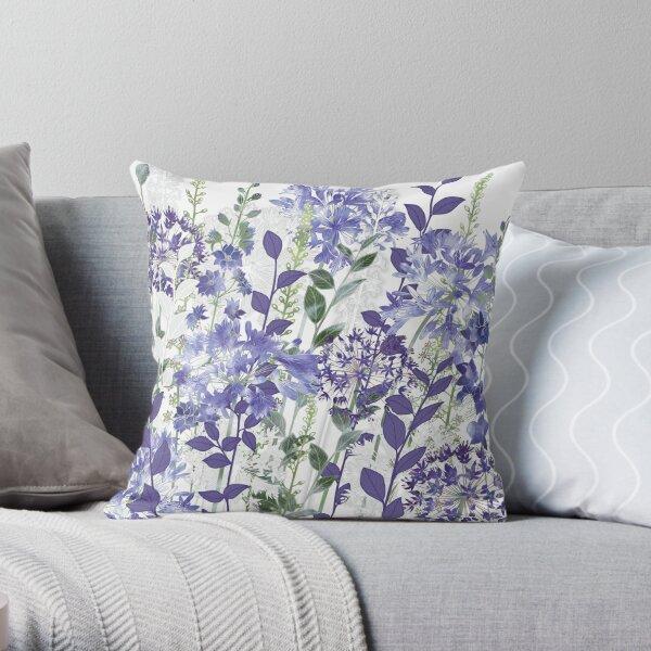 Blue Flowers - Agapanthus, Alliums, Loosestrife, Larkspur Throw Pillow