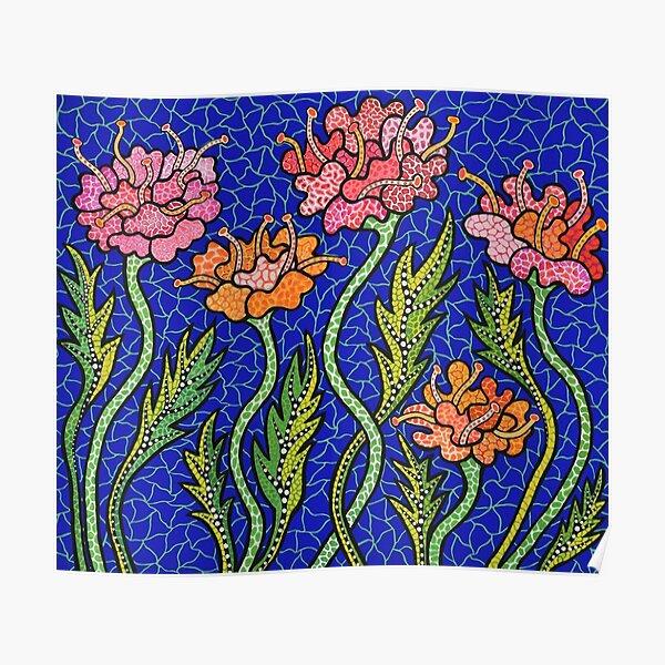 Yayoi Blumen blau Poster