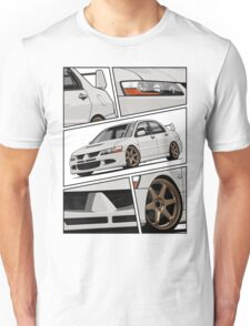 Mitsubishi Lancer Evolution VIII (white) Unisex T-Shirt