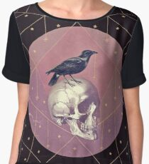 Crow and Skull Collage Chiffon Top