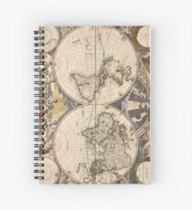 Vintage Map of The World (1672) Spiral Notebook
