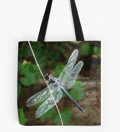 SLATY DRAGONFLY ON SILVER WINGS Tote Bag