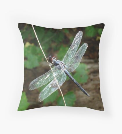 SLATY DRAGONFLY ON SILVER WINGS Throw Pillow
