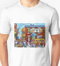 FAIRMOUNT BAGEL MONTREAL WINTER FUN CANADIAN  PAINTINGS T-Shirt