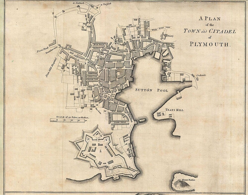 Vintage Map of Plymouth England (1765) by BravuraMedia
