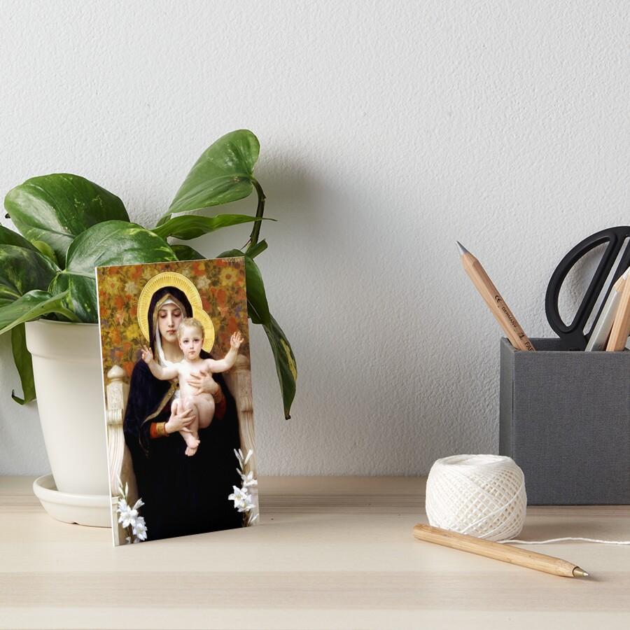 Madonna of the Lillies Art Board Print