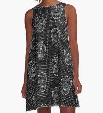 Triangle and Line Art Skull A-Line Dress