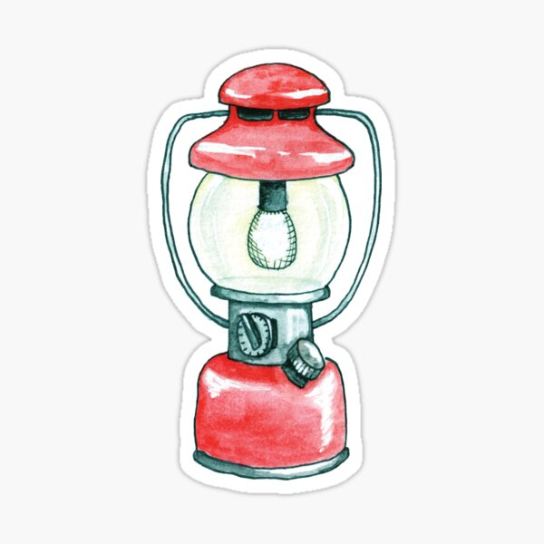 Red Camping Lantern Sticker -Watercolor Illustration Sticker