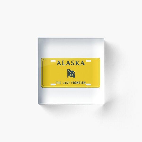 Alaska License Plate Acrylic Block