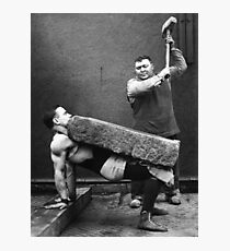 Strong Man with Slab and Sledge Hammer Photographic Print