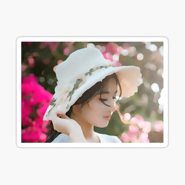 Young Lady with Hat Sticker