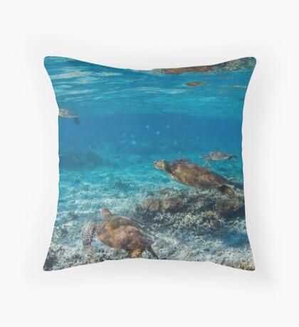 Turtle party - print Throw Pillow