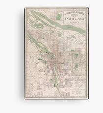 Vintage Map of Portland Oregon (1912) Metal Print