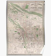 Vintage Map of Portland Oregon (1912) Poster