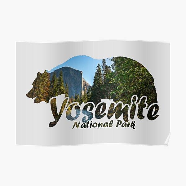 Yosemite National Park California Half Dome El Capitan Bear Silhouette Poster