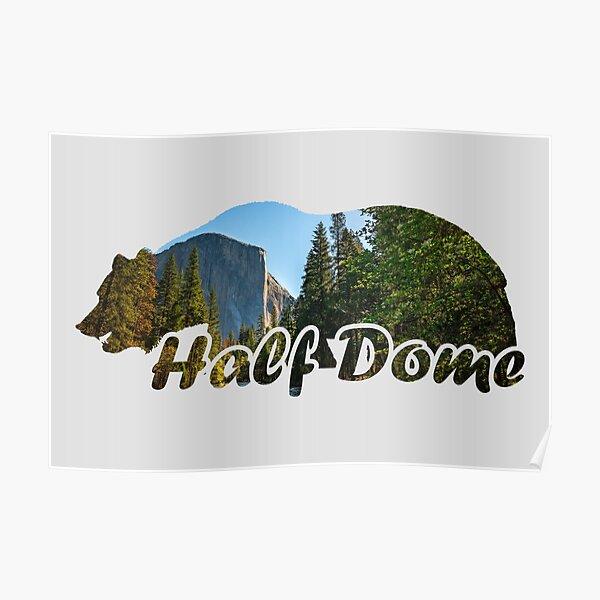 Half Dome El Capitan Yosemite National Park California Bear Silhouette Poster
