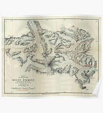 Vintage Map of Mount Everest (1921) Poster