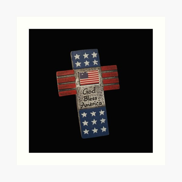 Vintage God Bless America Typography and Cross illustration  Art Print