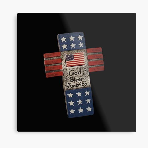 Vintage God Bless America Typography and Cross illustration  Metal Print