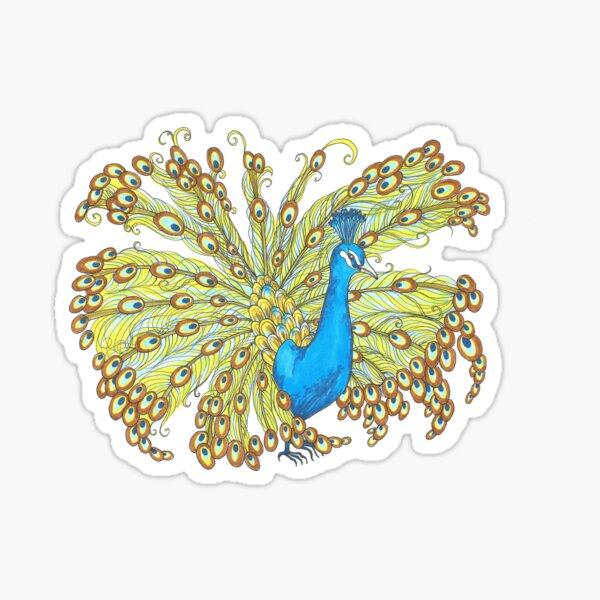 Whimsical Peacock Sticker
