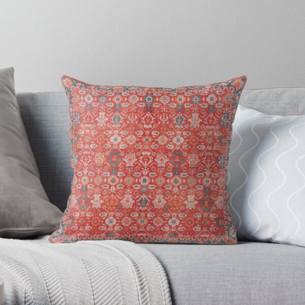 Orange Floral Traditional Vintage Bohemian Moroccan Style Throw Pillow