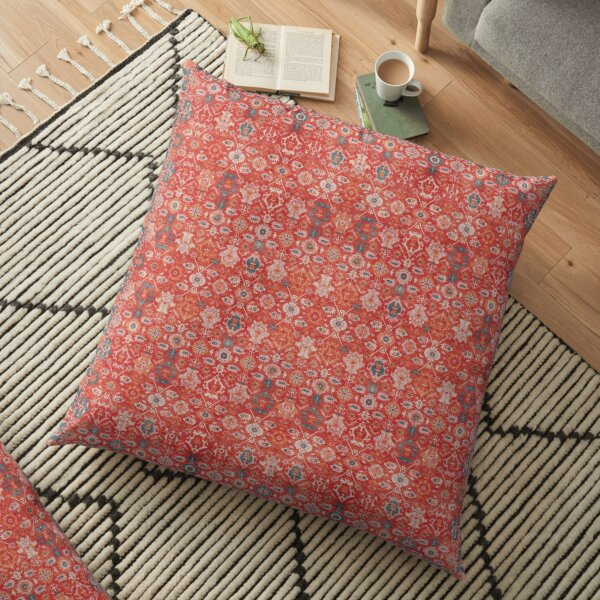Orange Floral Traditional Vintage Bohemian Moroccan Style Floor Pillow