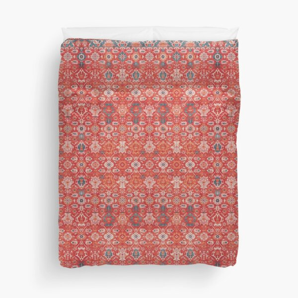 Orange Floral Traditional Vintage Bohemian Moroccan Style Duvet Cover