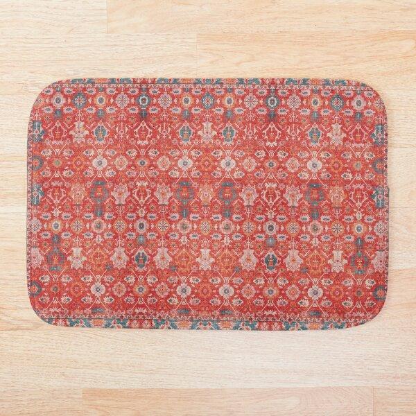 Orange Floral Traditional Vintage Bohemian Moroccan Style Bath Mat