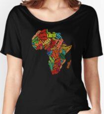Africa Word Pattern Africa Map T-Shirt Women's Relaxed Fit T-Shirt