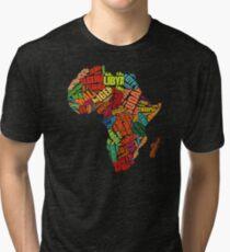 Africa Word Pattern Africa Map T-Shirt Tri-blend T-Shirt