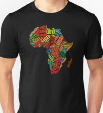 Africa Word Pattern Africa Map T-Shirt T-Shirt