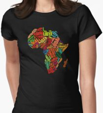 Africa Word Pattern Africa Map T-Shirt Women's Fitted T-Shirt