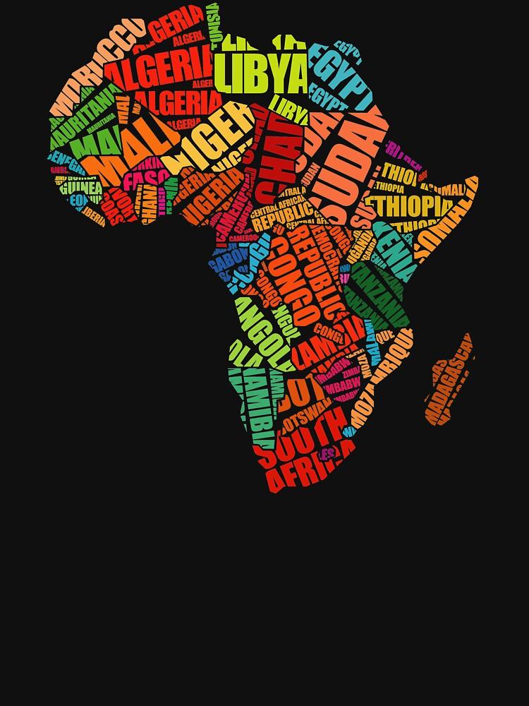 Afrika-Wort-Muster-Afrika-Karten-T-Shirt von mamatgaye