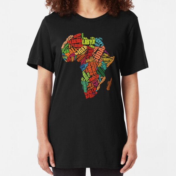 Africa Word Pattern Africa Map T-Shirt Slim Fit T-Shirt