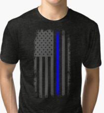 Vertical Thin Blue Line American Flag Tri-blend T-Shirt