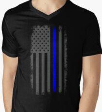 Vertical Thin Blue Line American Flag Men's V-Neck T-Shirt