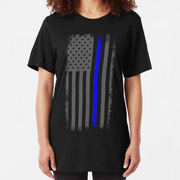 Vertical Thin Blue Line American Flag Slim Fit T-Shirt