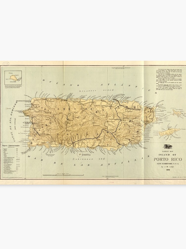 picture relating to Printable Maps of Puerto Rico identified as Common Map of Puerto Rico (1898) Canvas Print