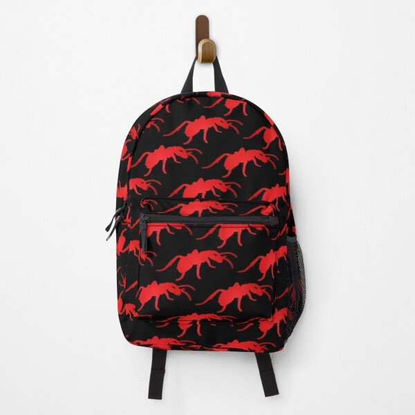 Seamless vector pattern with insects, dark or black background with red ants Backpack